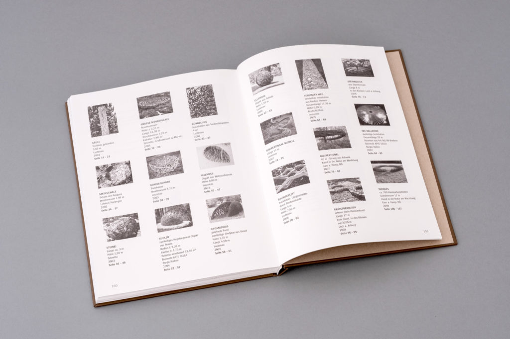 Land Art Kunstbuch Armin Schubert. Doppelseite Index und Seitenzahl