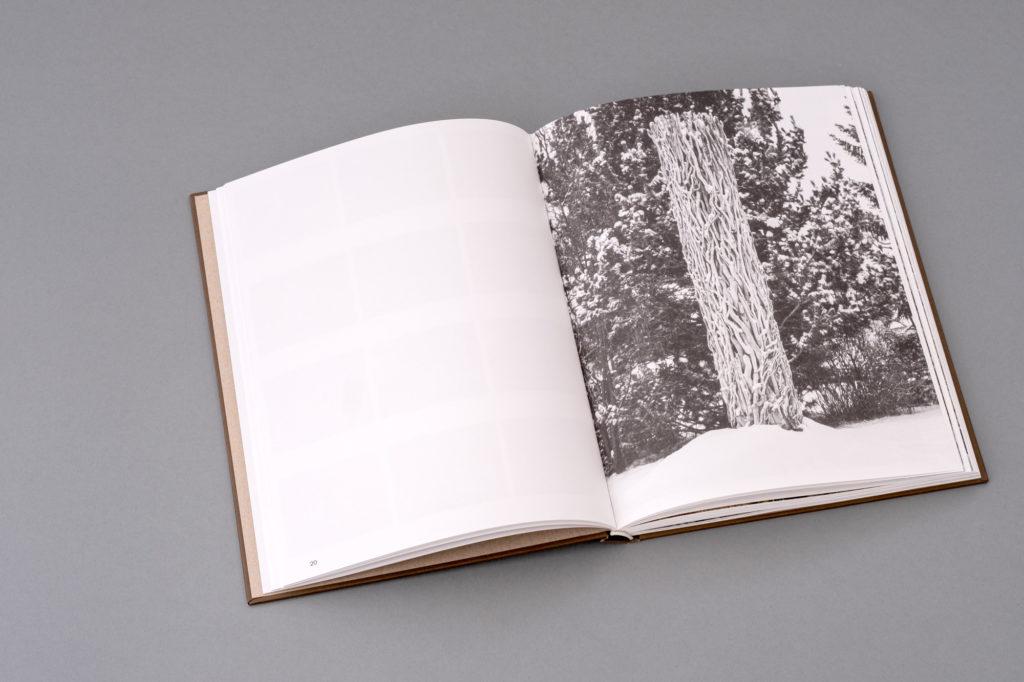 Land Art Kunstbuch Armin Schubert. Doppelseite. Schwarzweiss Bild mit Holzskulptur