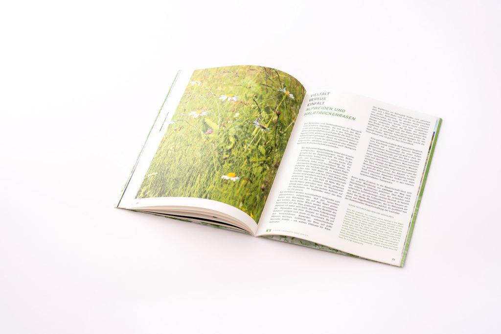 Broschüre Naturpark Nagelfluhkette . Doppelseite Vielfalt der Natur. Hagen Gestaltung