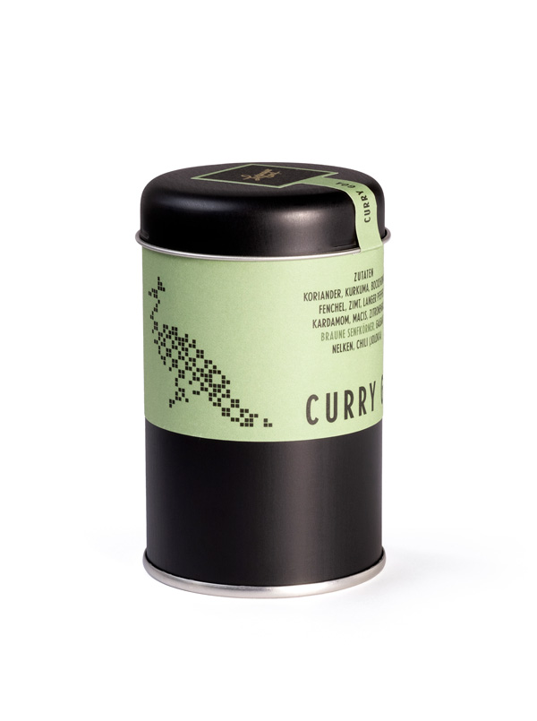 Lustenauer Senf Curry Goa. Verpackung Metalldose. Hagen Gestaltung. Julian Hagen