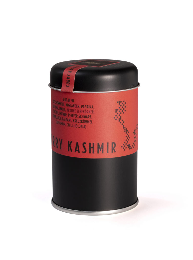 Verpackungsdesign für Lustenauer Senf Curry Gewürzedose. Sorte Kashmir - scharf