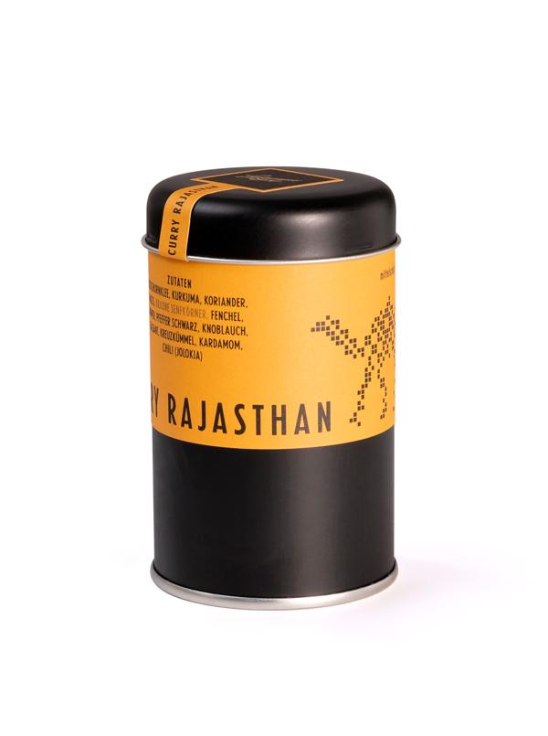Curry Dose milde Sorte Rajasthan Lustenauer Senf. Design by Julian Hagen