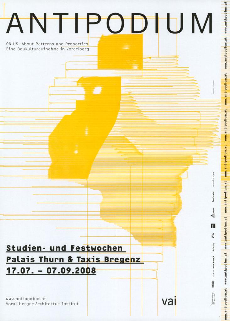 Plakat für die ANTIPODIUM Veranstaltungsreihe des Vorarlberger Architekturinstitutes